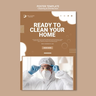 Cartaz de modelo de serviço de limpeza e desinfecção