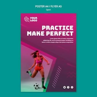 Cartaz de modelo de treinamento de futebol