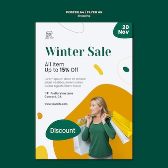 Cartaz de modelo de venda de compras