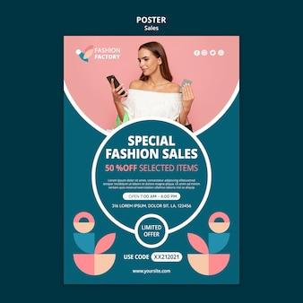 Cartaz de modelo de venda de moda