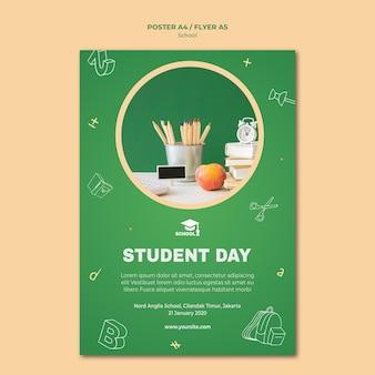 Cartaz de modelo de volta às aulas