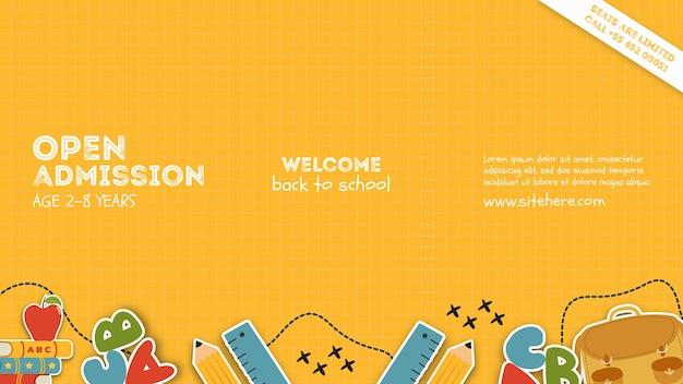 Cartaz de modelo para admissão aberta na escola