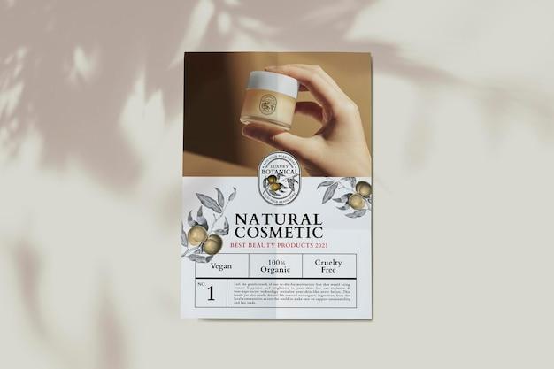 Cartaz de negócios de cosméticos em anúncio de tema botânico luxuoso