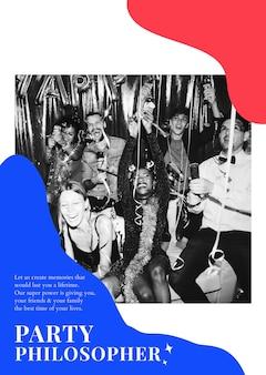 Cartaz de organização de evento psd modelo de anúncio de filósofo de festa