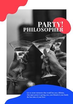 Cartaz de organização de eventos psd modelo de anúncio de filósofo de festa