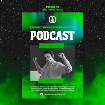 Cartaz de podcast com tema de espaço