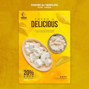 Cartaz de queijo delicioso com desconto