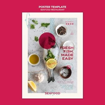 Cartaz de restaurante de frutos do mar frescos