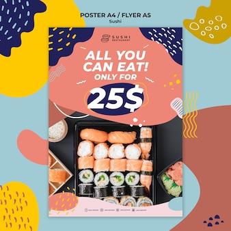 Cartaz de restaurante de sushi com oferta