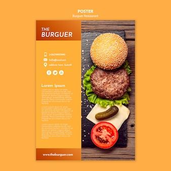 Cartaz de restaurante saboroso hambúrguer