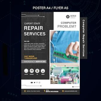 Cartaz de serviços de conserto de computadores e telefones