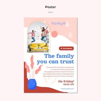 Cartaz de tempo de qualidade com modelo de família
