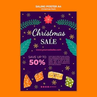 Cartaz de venda de natal com desconto