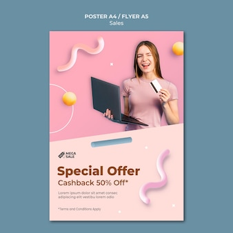 Cartaz de venda e modelo de design de folheto