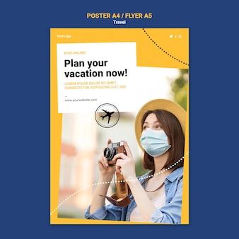 Cartaz de viagem ou modelo de folheto com foto