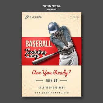 Cartaz do acampamento de treinamento de beisebol