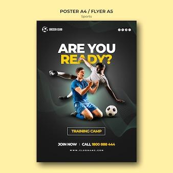 Cartaz do campo de treinamento do clube de futebol