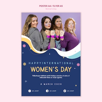 Cartaz do dia da mulher capacitando mulheres