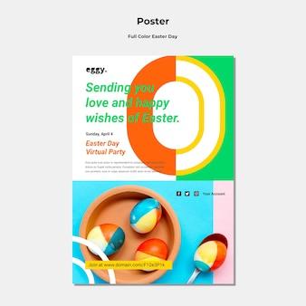 Cartaz do dia da páscoa com detalhes coloridos