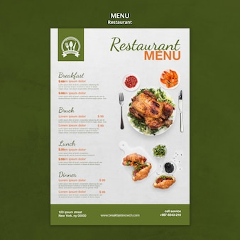 Cartaz do menu do restaurante com modelo de impressão de comida