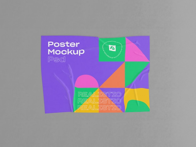 Cartaz enrugado com maquete de efeito colado