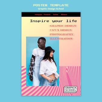 Cartaz escolar de design gráfico