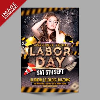 Cartaz escuro do partido do dia do trabalhador