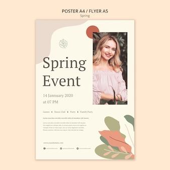Cartaz festival da primavera de mulher jovem e bonita