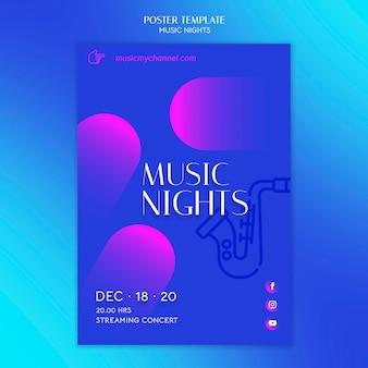 Cartaz gradiente vertical para festival de noites de música