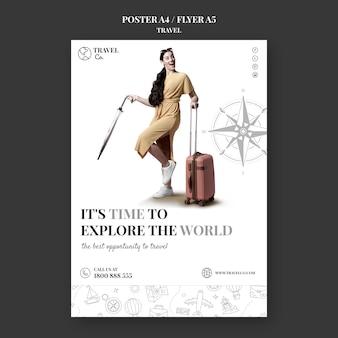 Cartaz incolor de viagem pelo mundo
