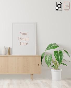 Cartaz interior em casa simulado acima com moldura no meio aparador e fundo de parede branca. renderização em 3d.