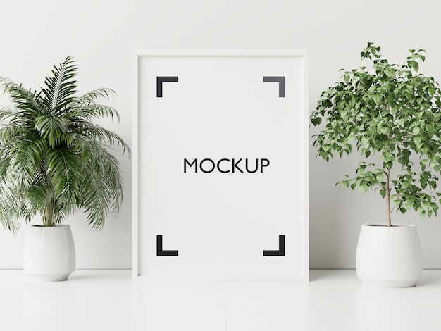 Cartaz interior mock-se com vasos de plantas
