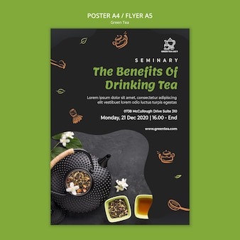 Cartaz modelo de chá verde