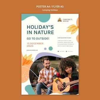 Cartaz modelo de férias em acampamento