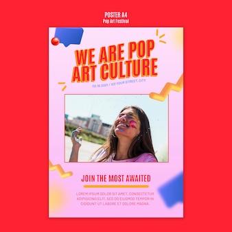 Cartaz modelo de festival de pop art