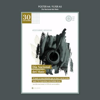 Cartaz nacional do evento da bebida do companheiro de argentina