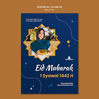 Cartaz ou modelo de folheto eid al-fitr