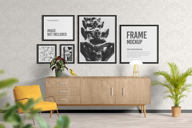 Cartaz ou moldura na maquete da sala de estar