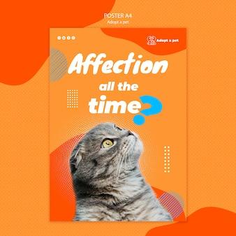 Cartaz para adoção de animais de estimação em abrigos