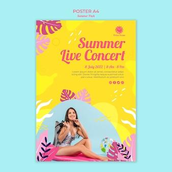 Cartaz para concerto ao vivo de verão