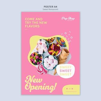 Cartaz para design de loja de doces pop Psd grátis