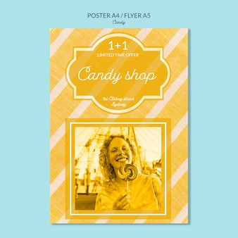 Cartaz para loja de doces com mulher segurando um pirulito