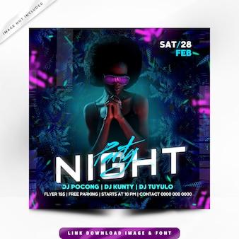 Cartaz premium de festa à noite