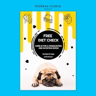 Cartaz quadrado colorido do alimento para cães