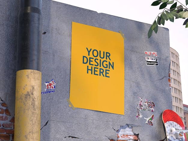Cartaz sobre maquete de parede de concreto