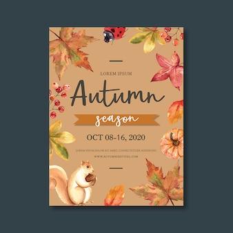 Cartaz temático de outono com modelo de folhagem vibrante