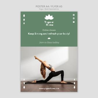 Cartaz vertical com mulher praticando ioga