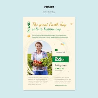 Cartaz vertical de celebração do dia da mãe terra