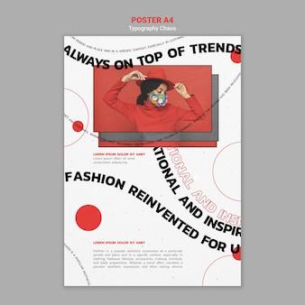 Cartaz vertical de tendências da moda com mulher usando máscara facial