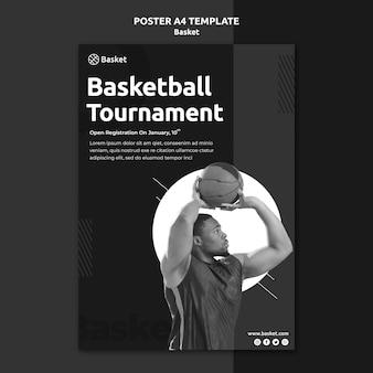 Cartaz vertical em preto e branco com atleta masculino de basquete